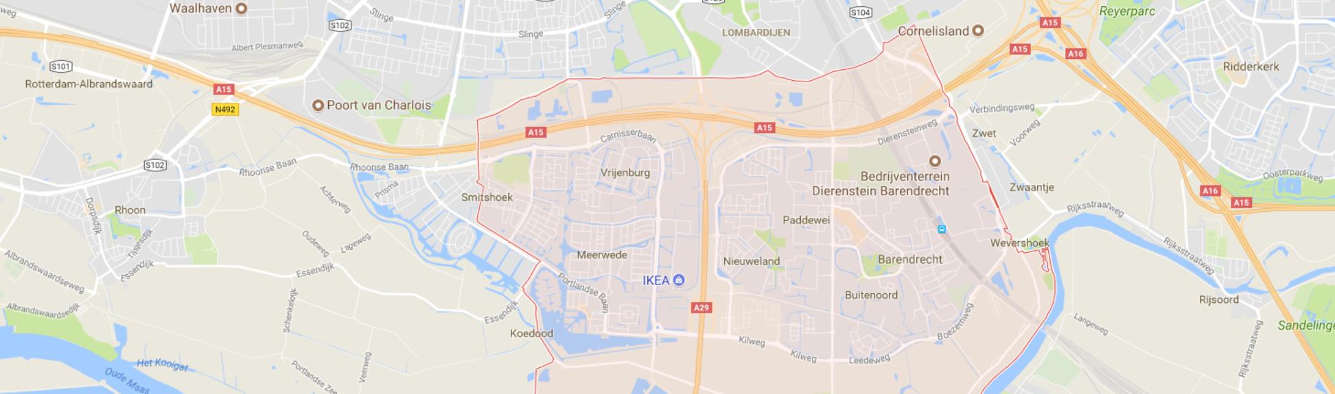 Stadskaart van Barendrecht in Nederland.